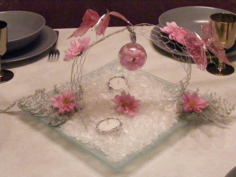 Centre de table rose p le papillon le paradis de bergie - Centre de table bapteme ...